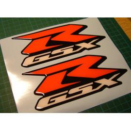 2 pegatinas GSXR con R rojo en 3D