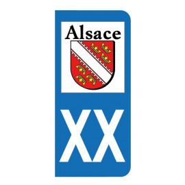 Autocollant blason Alsace pour plaque d'immatriculation