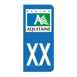 Autocollant blason Aquitaine pour plaque d'immatriculation