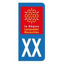 Autocollant blason Languedoc pour plaque d'immatriculation