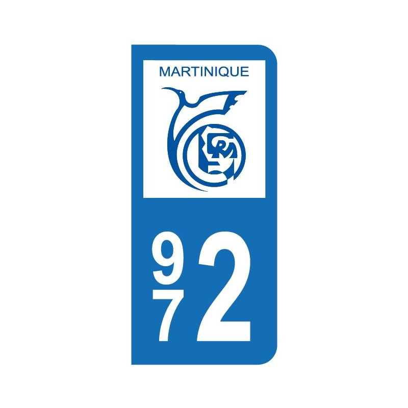 Autocollant blason Martinique pour plaque d'immatriculation