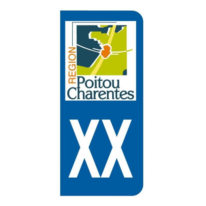 Autocollant blason Poitou Charentes pour plaque d'immatriculation