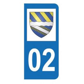 Autocollant blason 02 Aisne pour plaque d'immatriculation