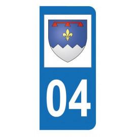 Autocollant blason 04 Alpes-de-Haute-Provence pour plaque d'immatriculation