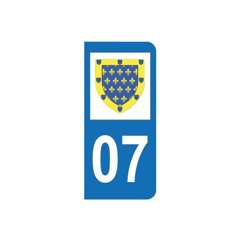 Autocollant blason 07 Ardèche pour plaque d'immatriculation