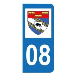 Autocollant blason 08 Ardennes pour plaque d'immatriculation