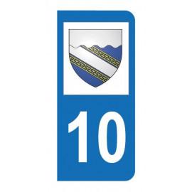 Autocollant blason 10 Aube pour plaque d'immatriculation