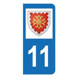 Autocollant blason 11 Aude pour plaque d'immatriculation