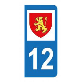 Autocollant blason 12 Aveyron pour plaque d'immatriculation