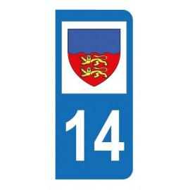 Autocollant blason 14 Calvados pour plaque d'immatriculation