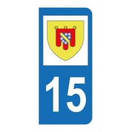 Autocollant blason 15 Cantal pour plaque d'immatriculation