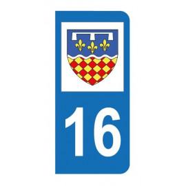 Autocollant blason 16 Charente pour plaque d'immatriculation