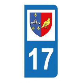 Autocollant blason 17 Charente-Maritime pour plaque d'immatriculation