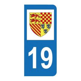 Autocollant blason 19 Corrèze pour plaque d'immatriculation