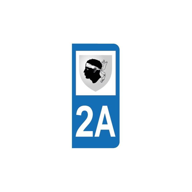 Autocollant blason 2A Corse-du-Sud pour plaque d'immatriculation
