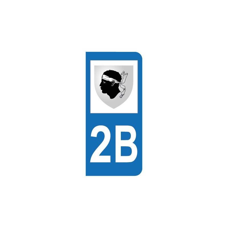 Autocollant blason 2B Haute-Corse pour plaque d'immatriculation