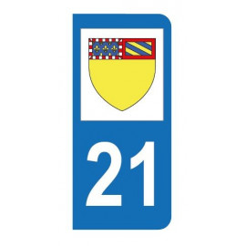 Autocollant blason 21 Côte-d'Or pour plaque d'immatriculation