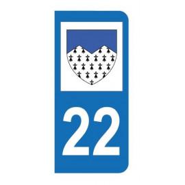 Autocollant blason 22 Côtes-d'Armor pour plaque d'immatriculation