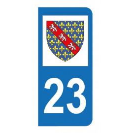 Autocollant blason 23 Creuse pour plaque d'immatriculation