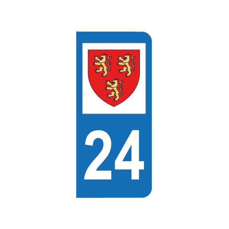 Autocollant blason 24 Dordogne pour plaque d'immatriculation