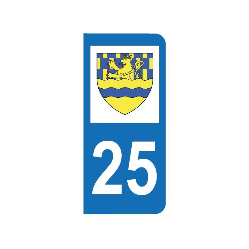 Autocollant blason 25 Doubs pour plaque d'immatriculation