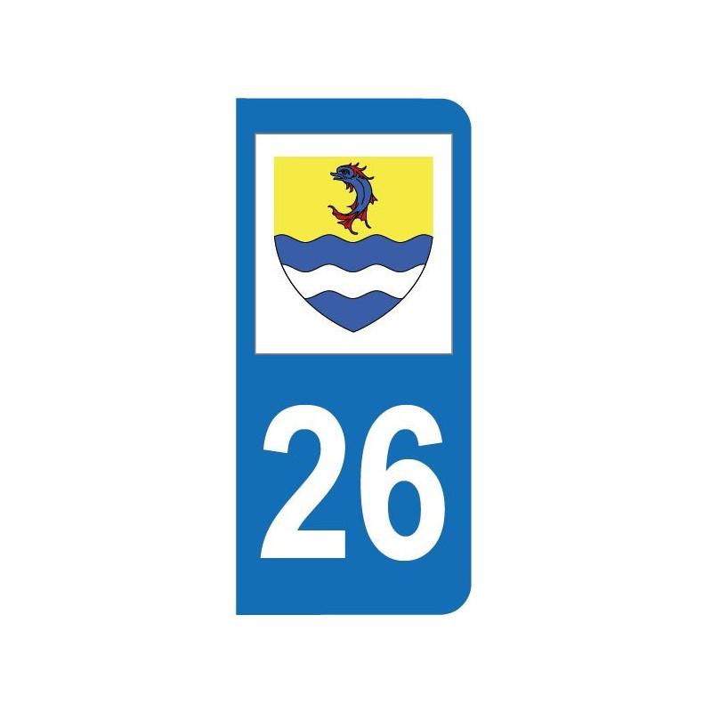 Autocollant blason 26 Drôme pour plaque d'immatriculation