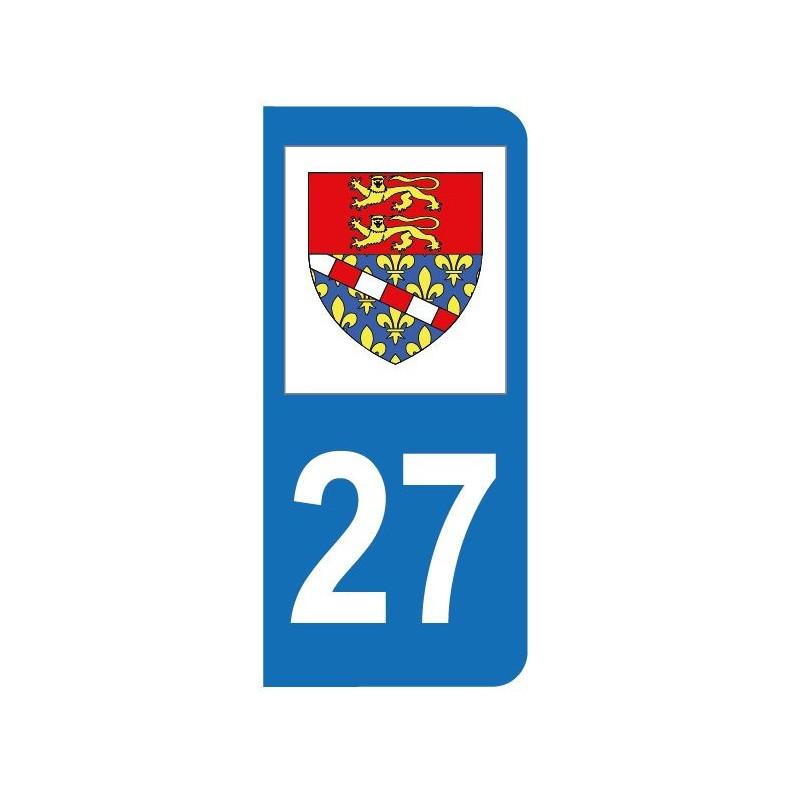 Autocollant blason 27 Eure pour plaque d'immatriculation
