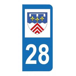 Autocollant blason 28 Eure-et-Loir pour plaque d'immatriculation