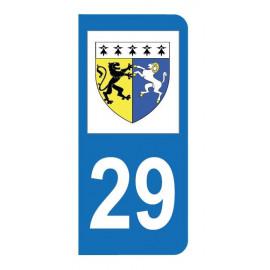 Autocollant blason 29 Finistère pour plaque d'immatriculation