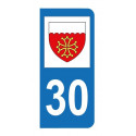 Autocollant blason 30 Gard pour plaque d'immatriculation