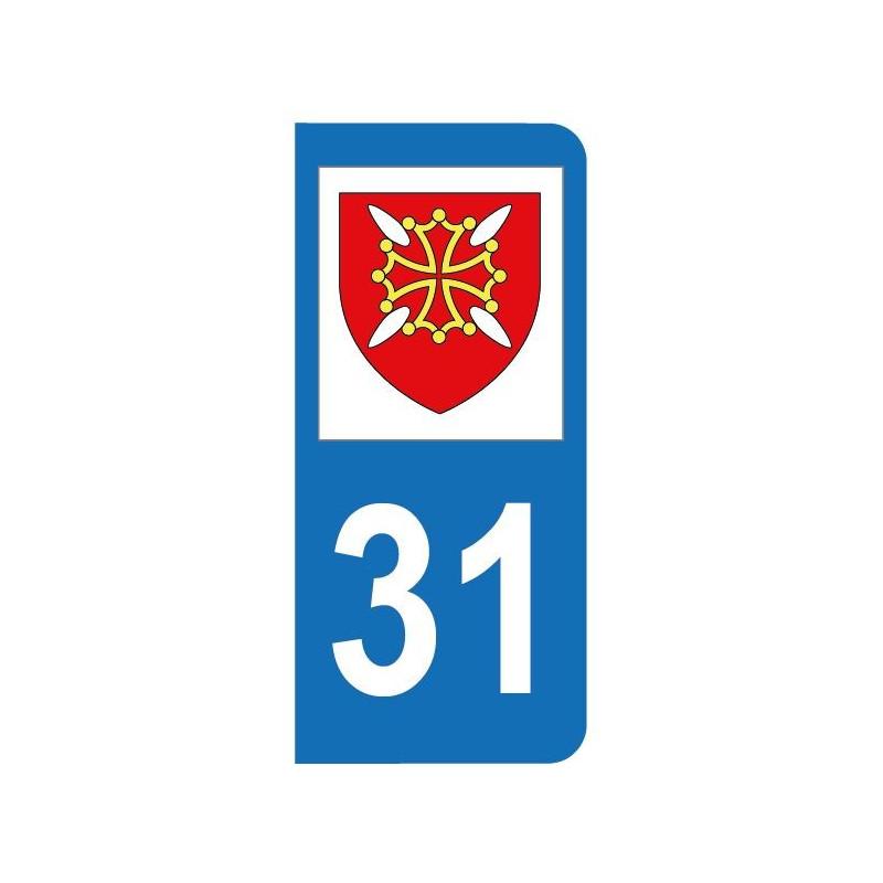 Autocollant blason 31 Haute-Garonne pour plaque d'immatriculation