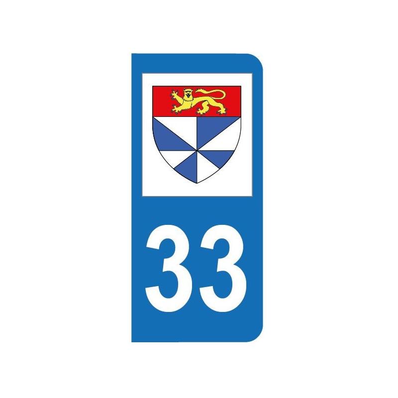 Autocollant blason 33 Gironde pour plaque d'immatriculation