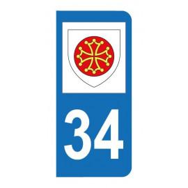 Autocollant blason 34 Hérault pour plaque d'immatriculation