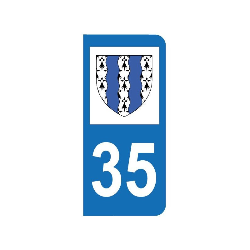 Autocollant blason 35 Ille-et-Vilaine pour plaque d'immatriculation