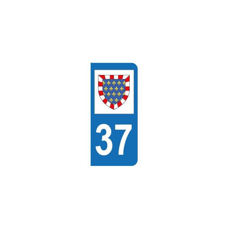 Autocollant blason 37 Indre-et-Loire pour plaque d'immatriculation