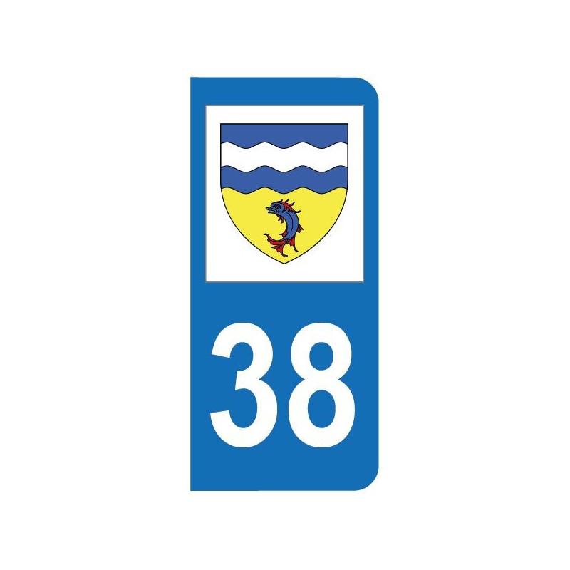 Autocollant blason 38 Isère pour plaque d'immatriculation