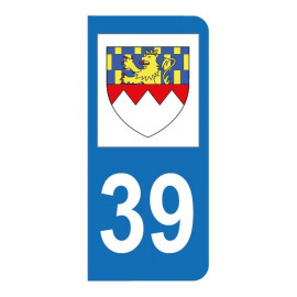 Autocollant blason 39 Jura pour plaque d'immatriculation
