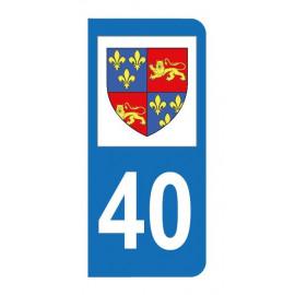 Autocollant blason 40 Landes pour plaque d'immatriculation