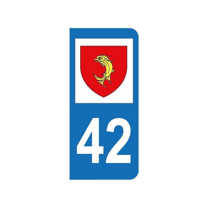 Autocollant blason 42 Loire pour plaque d'immatriculation
