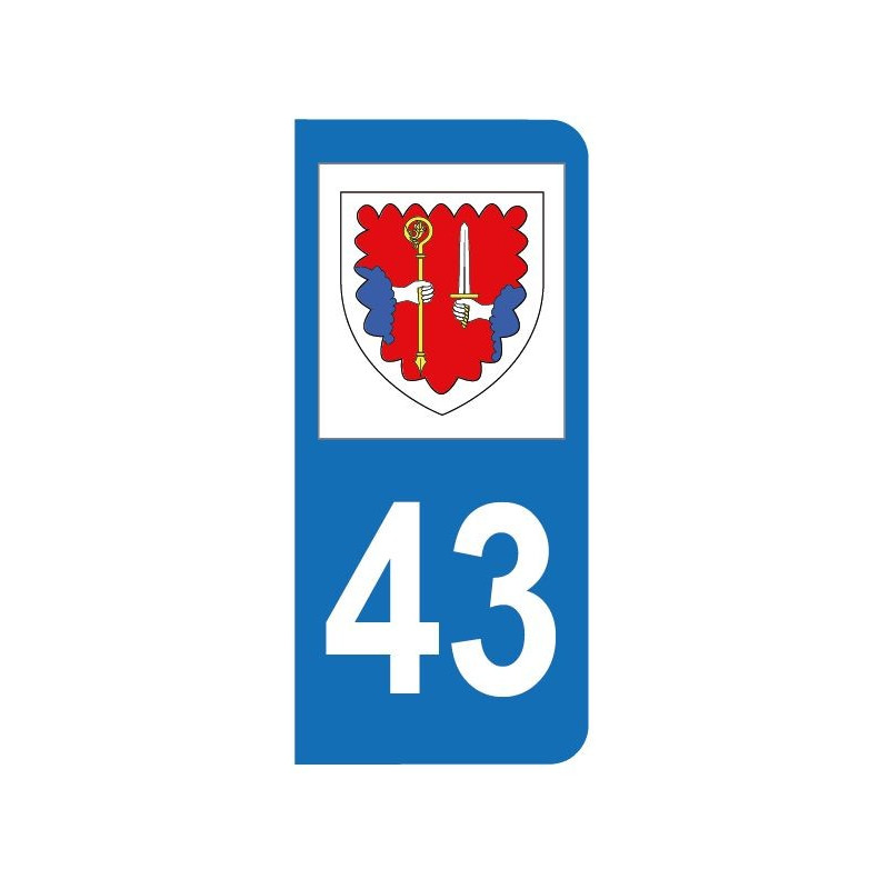 Autocollant blason 43 Haute-Loire pour plaque d'immatriculation