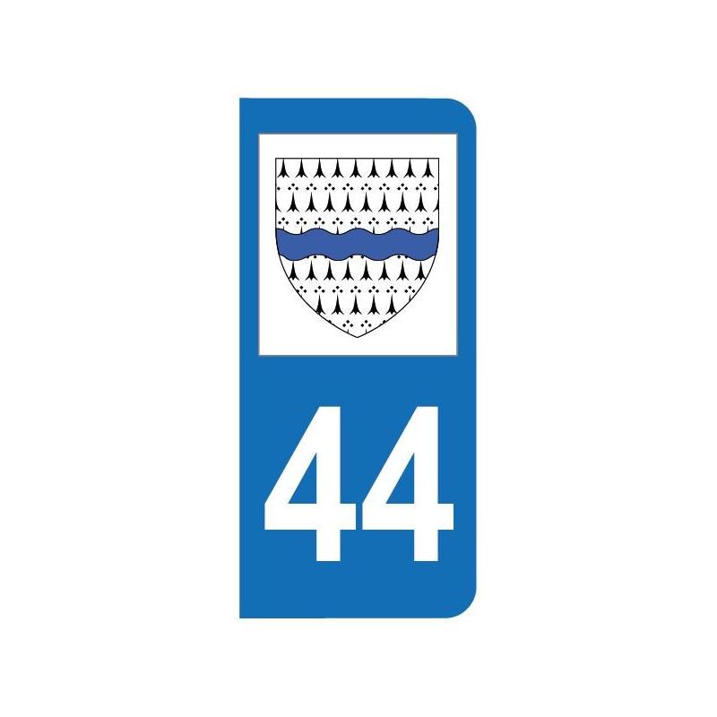Autocollant blason 44 Loire-Atlantique pour plaque d'immatriculation