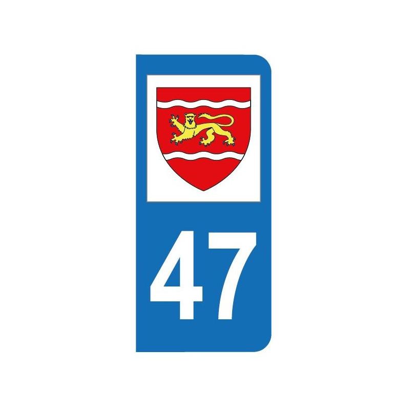 Autocollant blason 47 Lot-et-Garonne pour plaque d'immatriculation