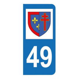 Autocollant blason 49 Maine-et-Loire pour plaque d'immatriculation