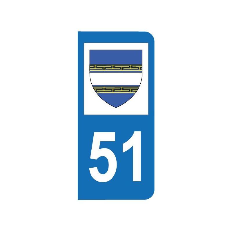 Autocollant blason 51 Marne pour plaque d'immatriculation