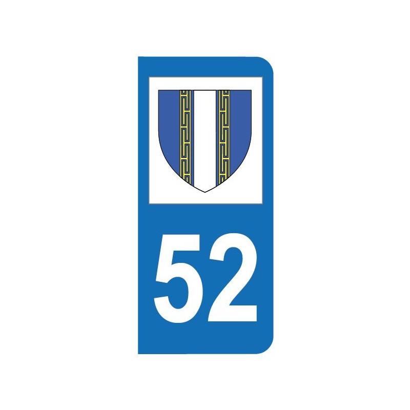 Autocollant blason 52 Haute-Marne pour plaque d'immatriculation