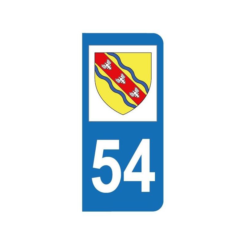Autocollant blason 54 Meurthe-et-Moselle pour plaque d'immatriculation