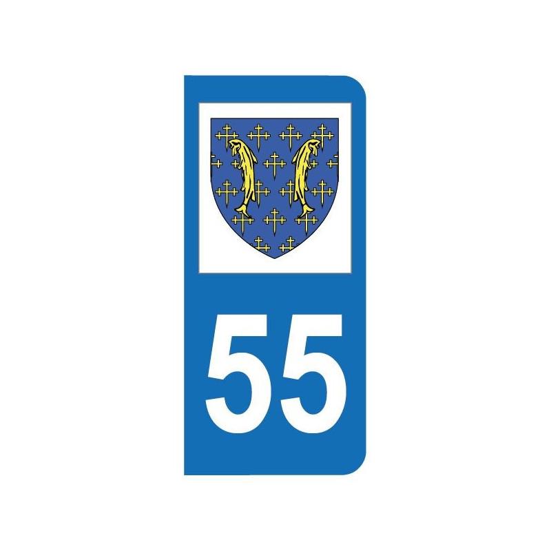 Autocollant blason 55 Meuse pour plaque d'immatriculation