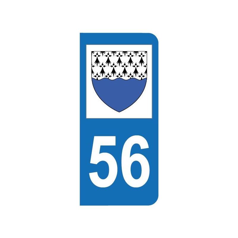Autocollant blason 56 Morbihan pour plaque d'immatriculation