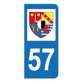 Autocollant blason 57 Moselle pour plaque d'immatriculation