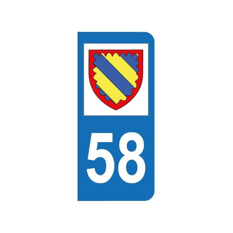 Autocollant blason 58 Nièvre pour plaque d'immatriculation